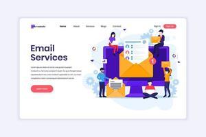 concetto di design della pagina di destinazione di servizi di email marketing, campagna pubblicitaria, promozione digitale con personaggi. illustrazione vettoriale