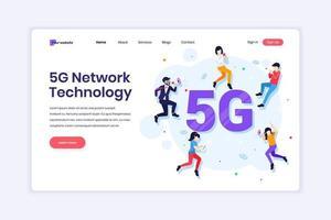 concetto di design della pagina di destinazione della tecnologia di rete 5g. persone che utilizzano una connessione wireless ad alta velocità 5g. illustrazione vettoriale