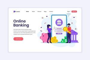 concetto di design della pagina di destinazione del mobile banking con personaggi di persone che utilizzano uno smartphone per pagamenti e trasferimenti mobili su Internet. illustrazione vettoriale