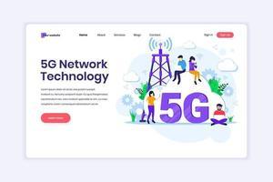concetto di design della pagina di destinazione della quinta tecnologia di rete. persone che utilizzano una connessione wireless ad alta velocità 5g. illustrazione vettoriale