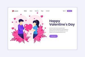 concetto di design della pagina di destinazione della celebrazione di San Valentino, un uomo esprime amore dando un simbolo del cuore a una donna. uomo e donna nelle relazioni. illustrazione vettoriale