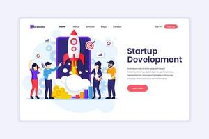 concetto di design della pagina di destinazione dello sviluppo di startup aziendali, persone che lavorano su un razzo e uno smartphone gigante. illustrazione vettoriale