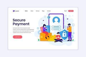 concetto di design della pagina di destinazione del concetto di pagamento sicuro o trasferimento di denaro con personaggi. illustrazione vettoriale
