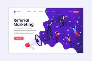 concetto di design della pagina di destinazione del concetto di marketing di riferimento, invitare un amico, metodo di promozione con i personaggi. illustrazione vettoriale