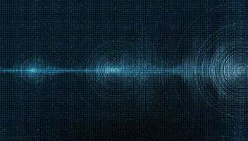 onda sonora digitale scura su sfondo blu, tecnologia e concetto di diagramma delle onde del terremoto, design per studio musicale e scienza, illustrazione vettoriale. vettore