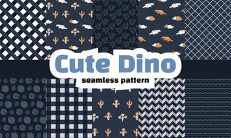 collezione di dinosauri seamless pattern. vettore premium