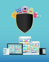 smartphone e tablet protetti dai virus vettore