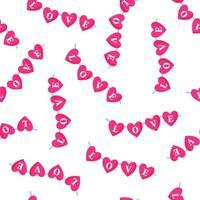 Seamless pattern di ghirlanda di cuori con la scritta per il matrimonio o il giorno di San Valentino. vettore