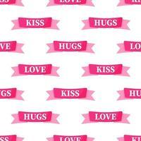 modello senza cuciture di nastri rosa con la scritta per il matrimonio o il giorno di San Valentino. vettore