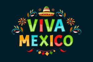 viva mexico. poster con texture grunge. peperoncino e sombrero. stile cartone animato. banner vettoriale. vettore