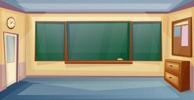 interno aula scolastica con scrivania e lavagna. lezione. fumetto di room.vector dell'università vuota vettore