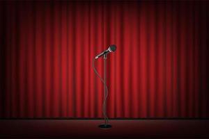 microfono si trova sul palco, sipario rosso sullo sfondo vettore