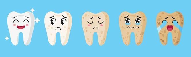 Vector cartoon set di simpatici personaggi di denti con diverse emozioni che mostrano le fasi di bianchezza e salute dei denti.