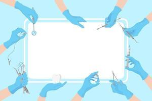 vettore cartone animato pulito banner dentale con l'immagine delle mani di medici in guanti blu che tengono strumenti dentali in giro