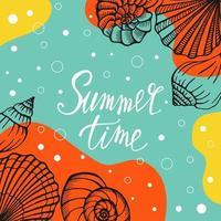 brillante carta estiva. bellissimo poster estivo con conchiglie e testo scritto a mano. carte di vacanze estive. illustrazione vettoriale