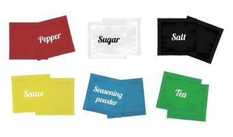 confezioni di bustine di pepe, zucchero, sale, salsa, tè e condimenti in polvere vettore