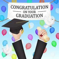 banner di laurea di congratulazioni con diploma e cappello vettore
