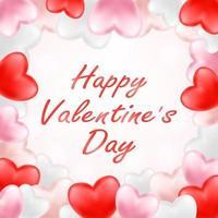 sii il mio San Valentino con cuore rosa, rosso e bianco vettore