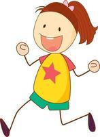 personaggio dei cartoni animati ragazza carina in stile doodle disegnato a mano isolato vettore
