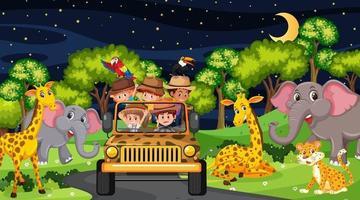 animali nella scena del safari con i bambini nell'auto turistica vettore