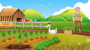 scena di fattoria con vecchio contadino e animali da fattoria vettore