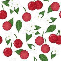 Vector cartoon seamless pattern con cornus capitata frutti esotici, fiori e foglie su sfondo bianco