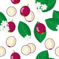 Vector cartoon seamless pattern con cattley guava frutti esotici, fiori e foglie su sfondo bianco
