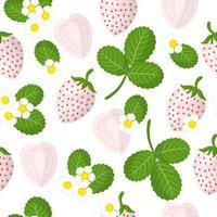 Vector cartoon seamless pattern con fragole bianche o pineberry frutti esotici, fiori e foglie su sfondo bianco