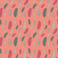 modello senza cuciture di piume di uccello. modello di Pasqua con piume di pollo. illustrazione vettoriale piatta. design per tessuti, imballaggi, involucri, biglietti di auguri, carta, stampa.