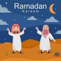 illustrazione disegnata a mano di celebrare il ramadhan e eid fitr in stile infantile. ragazzini e ragazze vestite in abiti islamici in piedi davanti al modello di progettazione del fumetto della moschea vettore