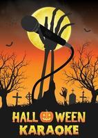 festa di canto di zombie di Halloween nel cimitero di notte vettore