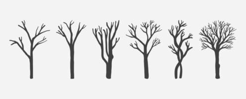 set di sagome di alberi nudi vettore