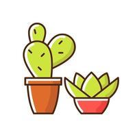 icona di colore rgb piante grasse e cactus vettore