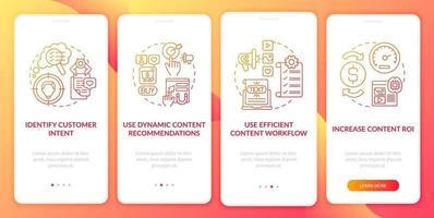 suggerimenti per la creazione di contenuti intelligenti schermata della pagina dell'app mobile di onboarding rossa con il concetto vettore