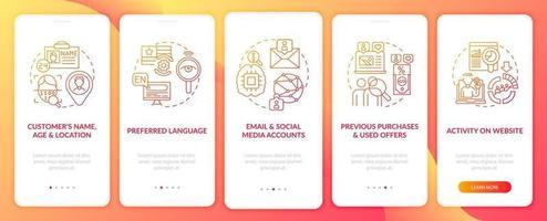 componenti di analisi dei contenuti intelligenti schermata della pagina dell'app mobile onboarding rossa con concetti vettore