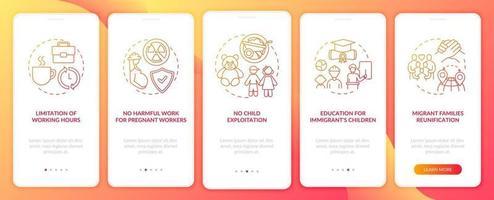 i diritti dei lavoratori migranti schermata rossa della pagina dell'app mobile di onboarding con concetti vettore