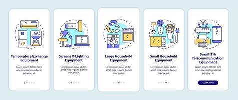 categorie di rifiuti elettronici onboarding schermata della pagina dell'app mobile con concetti vettore