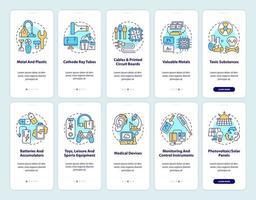 Schermata della pagina dell'app mobile per il rielaborazione dei rifiuti elettronici con set di concetti vettore
