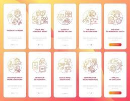 i diritti dei lavoratori migranti schermata rossa della pagina dell'app mobile di onboarding con set di concetti vettore