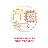 icona del concetto di cavi e circuiti stampati vettore