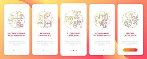 violazioni dei diritti dei lavoratori migranti, abuso della schermata della pagina dell'app mobile onboarding rossa con concetti vettore