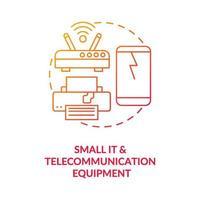 piccolo e icona del concetto di apparecchiature di telecomunicazione vettore