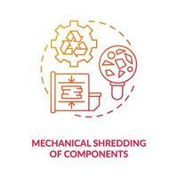 icona del concetto di triturazione di componenti meccanici vettore