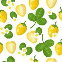 Vector cartoon seamless pattern con fragole gialle frutta esotica, fiori e foglie su sfondo bianco