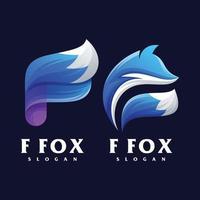 astratto colorato lettera f volpe logo design vettore