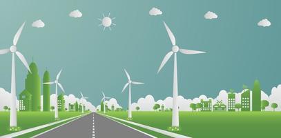 ecologia di fabbrica, icona dell'industria, turbine eoliche con alberi ed energia pulita del sole con idee di concetto ecologico su strada. illustrazione di vettore