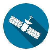 satelliti di comunicazione con lunga ombra nera, design semplice style.vector illustrazione vettore