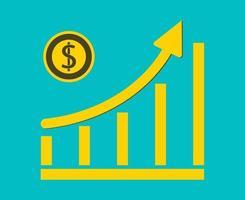 grafico di crescita del concetto di moneta da un dollaro di affari sul grafico background.vector illustratore vettore