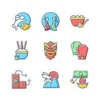 set di icone di colore rgb vacanze cinesi vettore