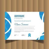 certificato creativo moderno di apprezzamento. modello di progettazione del certificato vettore
